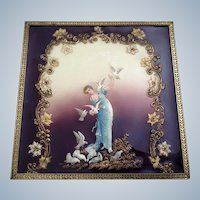 Vintage Celluloid Picture Art Deco 3D of a Woman Feeding White Doves in Frame