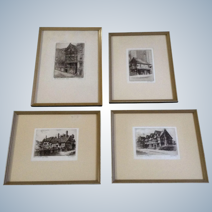 Größe 7 aliexpress das beste Cecil Forbes & A Goodwin Fine Genuine Original Etchings Works on Paper  Limited Edition of 150 Dickens Old Curiosity Shop Signed By Artist Set of 4