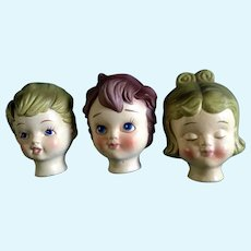 Vintage Doll Heads Dexter's Papier Maché Lee Wards, Boy & Girl Japan Exclusive Elgin, Illinois Mid-Century Figurines in Original Box
