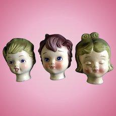 Vintage Dexter's Papier Maché  Lee Wards, Boy & Girl Doll Heads Japan Exclusive Elgin, Illinois Mid-Century Figurines in Original Box