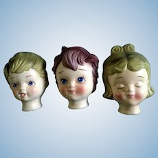 Vintage Doll Heads Dexter's Papier Maché Lee Wards, Boy & Girl Japan Exclusive Elgin, Illinois Mid-Century Figurines in Original Box