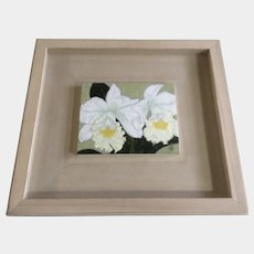 Contemporary Artwork of Asian White Iris Flowers Acrylic Painting Signed by Artist