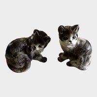 Mid-Century Playful Cat Figurines Kasuga Ware Japan Ceramic