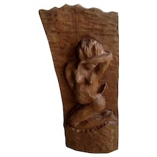 R. Dorisme, Vintage Hand Carved Haitian Wood Woman Nude Wall Hanging Sculpture Signed By Artist