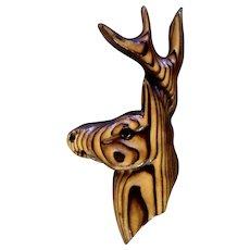Deer Buck Folk Art Wall Decor Decorative Vintage Cryptomeria Wood Carving Animal Figure 1970's