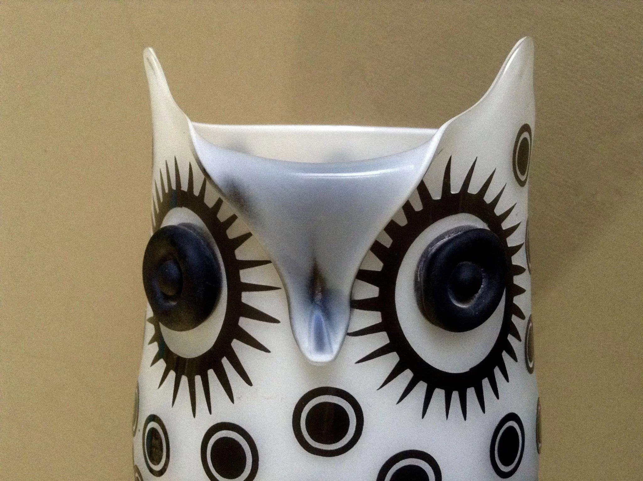 Vintage art glass white owl vase black raised polka dots white owl vase black raised polka dots click to expand reviewsmspy