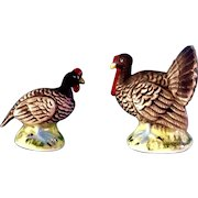 Vintage Chase Turkey Bird Salt & Pepper Shakers Ceramic Japan Figurines