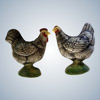 Vintage Chicken & Rooster Salt & Pepper Shakers Hand Painted Retro Japan S&P Figurines