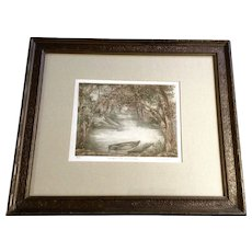 Nicole Gagné Ouellet Etching Artist Proof Number 1, Un Apres Midi Sous Les Arbres, Watercolored Print Signed by Listed Artist