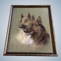 German Shepherd Dogs Pastel Drawing From the 1930's Works on Paper In Original Frame