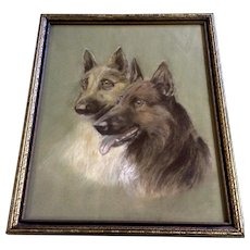 German Shepard Dogs Pastel Drawing From the 1930's Works on Paper In Original Frame