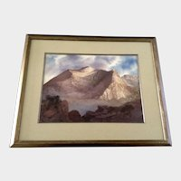 Mognin, Mount Bierstadt Colorado Watercolor Photorealism Painting Works on Paper Signed by Artist
