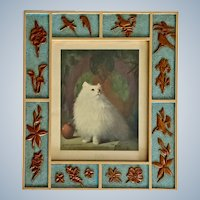 Margaret McDonald Phillips Queen of Persia, Persian Cat Art Print in Hand Made Intarsia Frame
