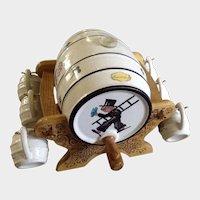 Handarbeit Whiskey Barrel & Cups Germany Chimney Sweeper Motif Ceramic