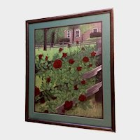 Tracy Skovmand, Red Roses in the Back Yard Acrylic Painting