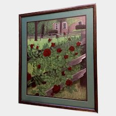 Tracy Skovmand, Stunning Acrylic Painting of Red Roses Along a Fenceline in the Back Yard Signed by Artist
