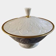 Retired Lenox Leaf Bowl with Lid Ceramic Cream Colored USA