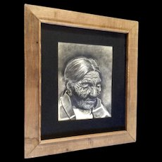Patricia Jantzen, Large Charcoal Pastel Sketch Portrait of Black Belly, Old Cheyenne  Woman American Indian Works on Paper Signed by Artist