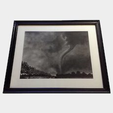 Jeanne Marie Mueller, Tornado Surrealism Ink & Charcoal Mixed Media Drawing on Paper Signed By Artist