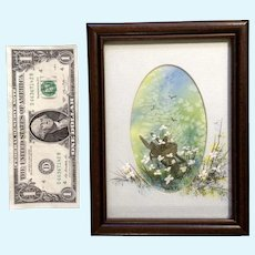 Kuster, Watercolor Painting with a Wheelbarrow Flowers and Birds Signed by Artist