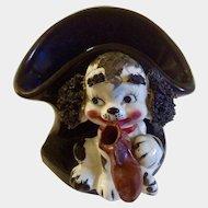 Vintage Relpo Black Vase Puppy Dog Spaghetti Ears Chewing on a Shoe Ceramic Japan Figurine
