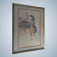 Centurion Roman Soldier Antique Watercolor Painting 1898 Monogrammed by Artist
