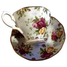 Old Country Roses Blue Damask by Royal Albert Footed Tea Cup & Saucer Bone China Discontinued