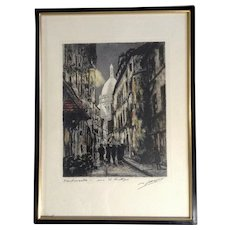 Maurice Jacque, Basilica of Sacre-Coeur Dome Montmartre Cathedral Paris France Hand Colored Stone Etching Lithograph