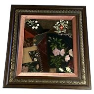 Gorgeous Vintage Sampler Floral Design Hand Painted Embroidery Stitch Fabric Swatch Design Picture