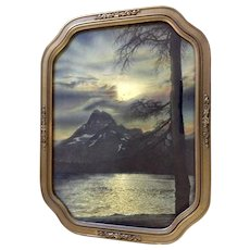 Moonlight Reverie, Vintage Print of Mountains Reflections Across a Lake