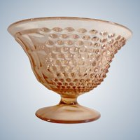 Pink Depression Glass Hobnail Pattern Compote Dish Square and Bubble Designs
