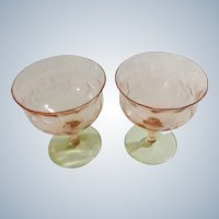 Pink Green Depression Glass Sorbet Glasses Floral Etched Watermelon Stemmed
