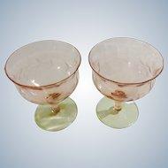 Pink Green Depression Glass Sorbet Glasses Floral Etched Watermelon Stemmed
