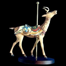 Franklin Mint Deer Figurine From The Carousel Horse Porcelain Treasury of Carousel Art Discontinued