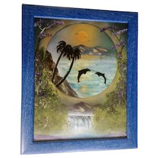 Killer Whales Jumping in the Sunset Oil Painting Signed by Artist