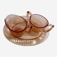 Pink Depression Glass Creamer & Sugar Twisted Optic Imperial Glass Ohio