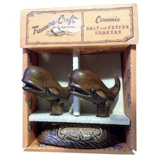 Vintage Treasure Craft Sperm Whales Salt & Pepper Shakers Marine World, Africa Ceramic USA NIB with Original Box