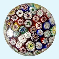 Vintage Fratelli Toso From Murano Italy Glass Paperweight Close Packed Millefiori