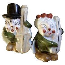 Old Salt and Pepper Shakers Happy Singing Anthropomorphic Crickets Playing Musical Instruments, Hand Painted Bug Band Made in Japan