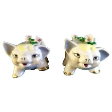 Vintage Pink Ceramic Pig Salt and Pepper Shaker Figurines With Flowers on their Backs B572/1 S & P