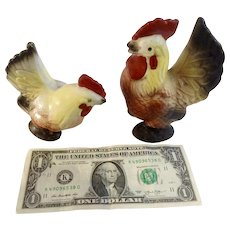 Large Ceramic Rooster & Chicken Salt and Pepper Shakers Mid-Century Japan Figurines