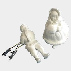 "Cheryl Johnson Vintage Skating Children Department Dept 56 Winter White Silhouettes Bisque Porcelain Figurine Set 6-1/4"" Discontinued"