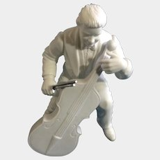"Vintage Cheryl Johnson Concerto Cellist Department Dept 56 Winter Silhouettes Bisque Porcelain Figurine 6-1/2"" Discontinued"