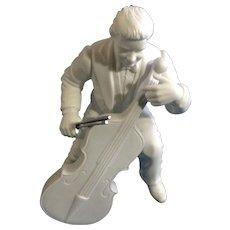 "Discontinued Vintage Concerto Cellist Department 56 Winter Silhouettes Bisque Porcelain Figurine 6-1/2"""