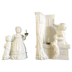 Discontinued Vintage A Bright Star On Christmas Eve Department 56 Winter Silhouettes Bisque Porcelain Figurine Set 7 1/2""