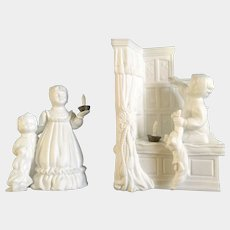 Vintage Cheryl Johnson A Bright Star On Christmas Eve Department Dept 56 Winter White Silhouettes Bisque Porcelain Figurine Discontinued Set