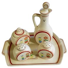 Retro Japan Floral Salt & Pepper Shakers, Vinegar, Jelly Jar & Tray Ceramic Condiment Set