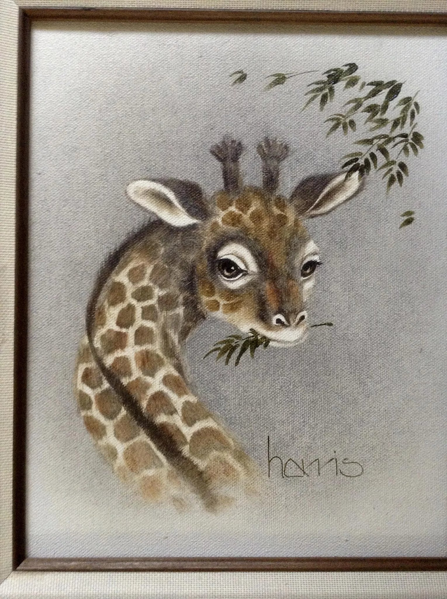 Peggy Harris Oil Painting On Canvas Baby Giraffe Out To
