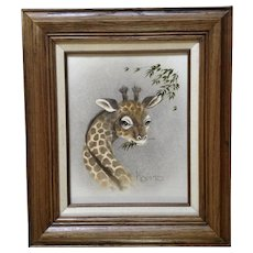 Peggy Harris, Oil Painting on Canvas Baby Giraffe Out to Lunch Signed by Illustrator Artist