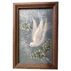 Vintage Christmas Dove Glitter Card in 1930's-1940's Wooden Frame